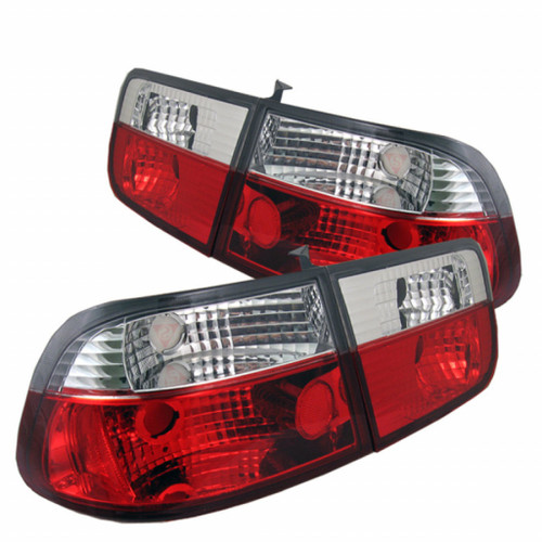 Spyder For Honda Civic 1996-2000 2Dr Crystal Tail Lights Red Clear | ALT-YD-HC96-2D-CRY-RC (TLX-spy5004826-CL360A70)