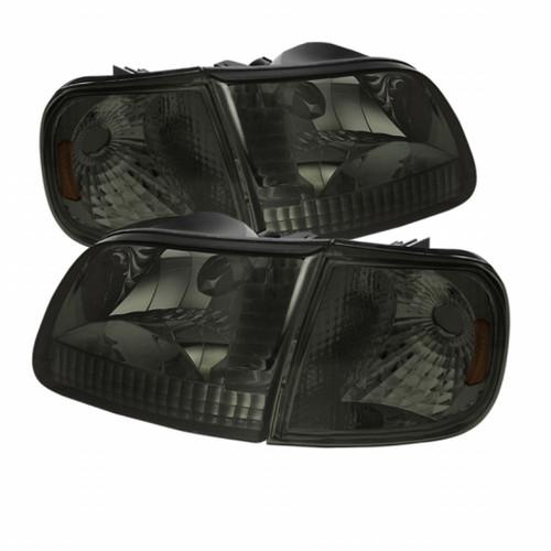 Xtune Ford F150 97-03 / Expedition 97-02 Crystal Headlights w/Corner Smoke HD-JH-FF15097-SET-AM-SM