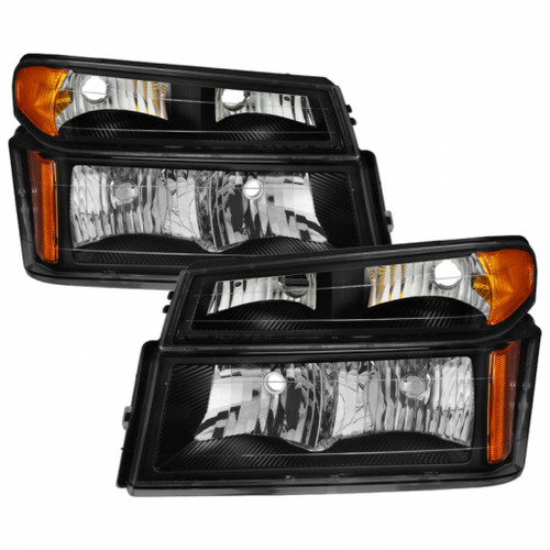 Xtune Chevy Colorado 04-12 OEM Headlights w/ Bumper Lights Black HD-JH-CCOL04-SET-BK