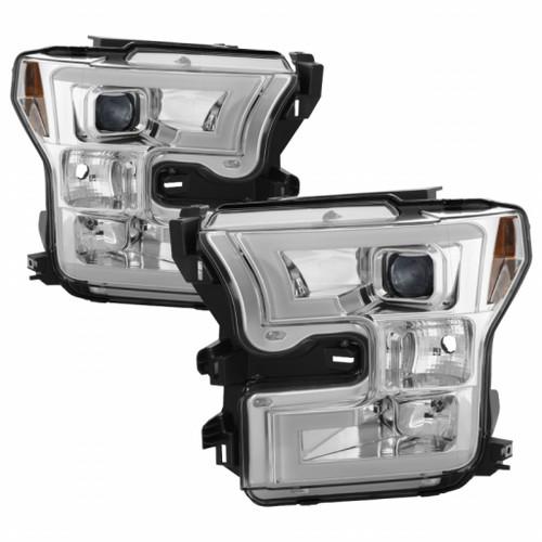 Spyder 15-17 Ford F-150 Projector Headlights - Light Bar DRL LED - Chrome PRO-YD-FF15015-LBDRL-C