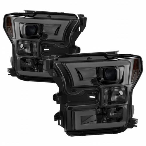 Spyder Ford F150 2015-2017 Projector Headlights - Light Bar DRL LED - Smoke PRO-YD-FF15015-LBDRL-SM
