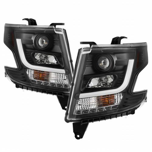 Spyder Chevy Tahoe / Suburban 2015 -2016 Projector HeadLights   DRL LED - Black PRO-YD-CTA15-DRL-BK