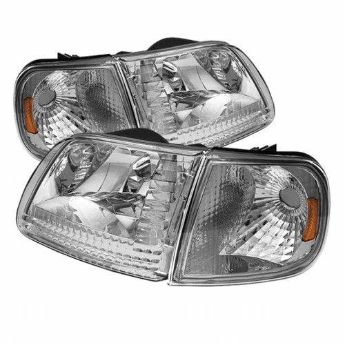 Xtune Ford F150 97-03 / Expedition 97-02 Crystal Headlights w/Corner Chrome HD-JH-FF15097-SET-AM-C