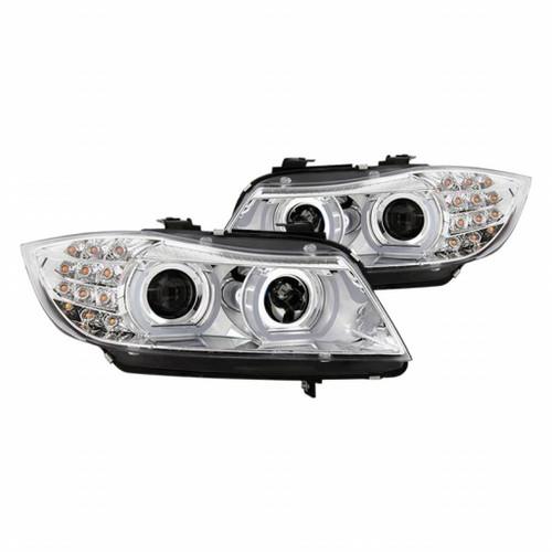 Spyder 09-12 BMW E90 3-Series 4DR Projector HeadLights | Halogen - LED - Chrome - PRO-YD-BMWE9009-C