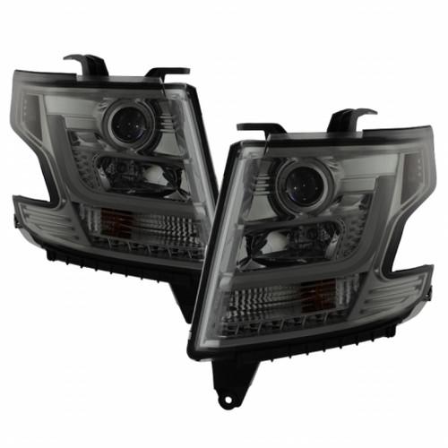 Spyder Chevy Tahoe / Suburban 2015 -2016 Projector Headlights - DRL LED - Smoke PRO-YD-CTA15-DRL-SM