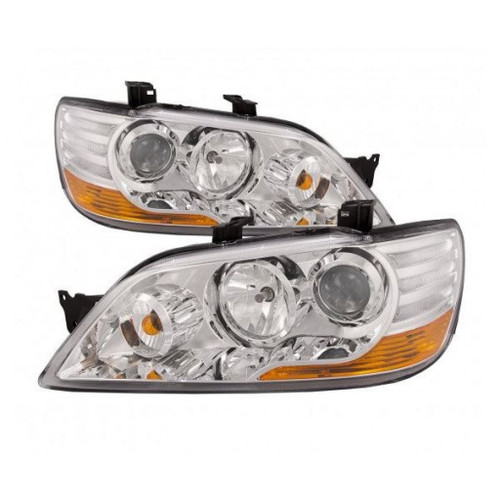 For Mitsubishi Lancer 2002-2003 Headlight Assembly Projector Chrome Pair Driver and Passenger Side MI2505114