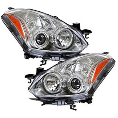 For Nissan Altima Coupe 2010-2012 Headlight Assembly Unit Halogen Chrome Bezel Pair Driver and Passenger Side (Chrome)