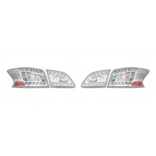 For: Nissan SENTRA 13-16 Tail Light Assembly LED Type Inner & Outer CLEAR Lens Chrome BEZEL SET Passenger Side Repla