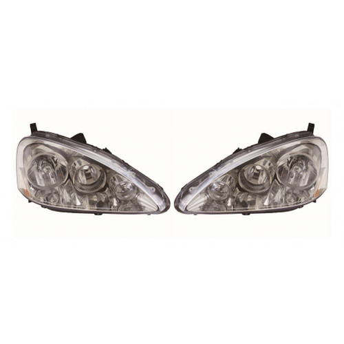 For Acura RSX 2005-2006 Headlight Assembly Unit Chrome Pair Driver and Passenger Side (Chrome)