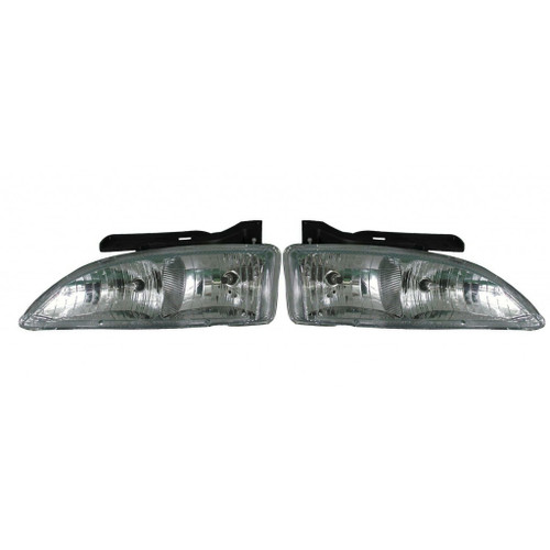 For Chevy Cavalier 1995-1999 Headlight Assembly Unit Diamond Design Pair Driver and Passenger Side GM2505106