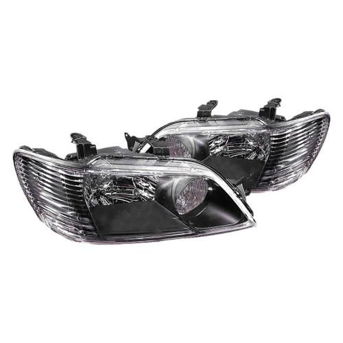 For Mitsubishi Lancer 2002-2003 Headlight Assembly Unit w/Black Bezel Pair Driver and Passenger Side