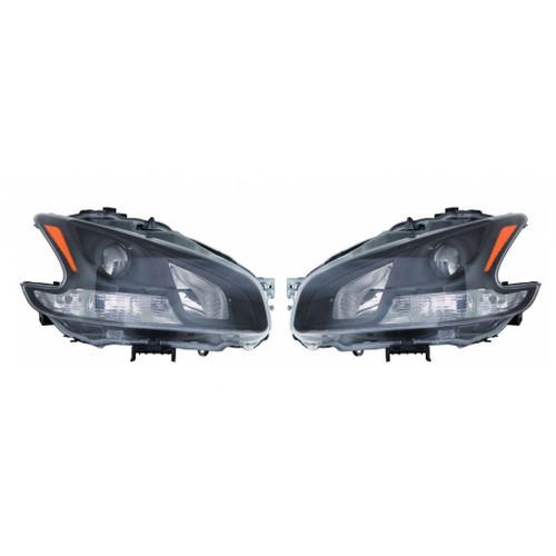 For Nissan Maxima 2009-2011 Headlight Assembly Unit Black Halogen Type Pair Driver and Passenger Side