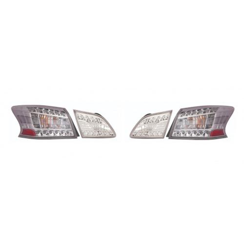 For: Nissan SENTRA 13-15 Tail Light & Inner Tail Light LED CLEAR Lens Chrome BEZEL SET Passenger Side Replaces NI281