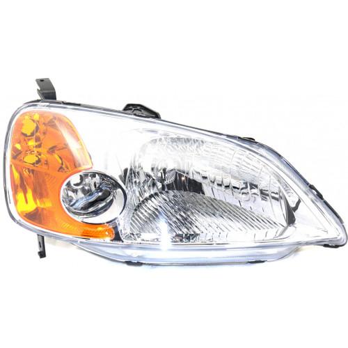 For Honda Civic Headlight Assembly 2001 2002 2003 Lens and Housing | Halogen | Sedan | CAPA | w/o bulb (CLX-M0-USA-REPH100130Q-CL360A70-PARENT1)