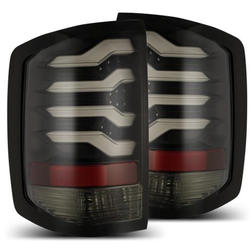 AlphaRex 14-18 Chevy Silverado 1500 PRO-Series LED Tail Lights Red Smoke