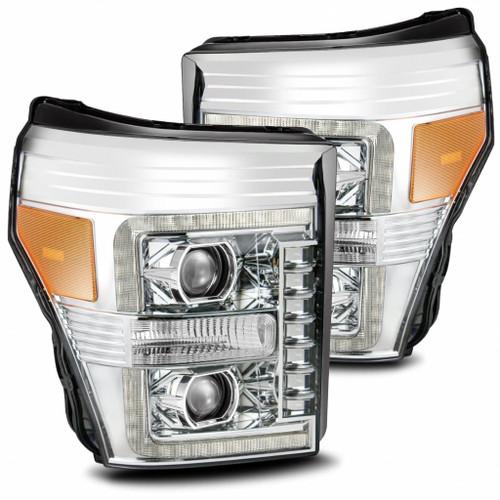 AlphaRex 11-16 Ford F-350 SD NOVA LED Proj Headlights Plank Style Alpha Blk w/Activ Light/Seq Signal
