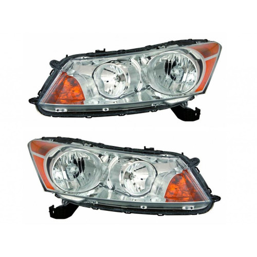For Honda Accord Sedan 2008-2011 Headlight Assembly Unit Chrome Pair Driver and Passenger Side (Chrome) (CLX-M1-316-1154P-US1)