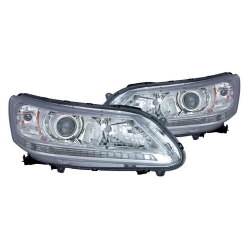 For Honda Accord Sedan 2013 14 2015 Headlight Assembly Unit Chrome Bezel  Pair Driver and Passenger Side (Chrome) (CLX-M1-316-1167PXUS1)