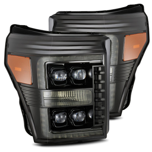 AlphaRex 11-16 Ford F-350 SD NOVA LED Projector Headlights Plank Style Blk w/Activ Light/Seq Signal