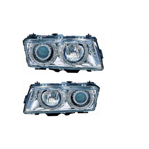 For BMW 7 (740I,740IL) 1995-1998 Headlight Assembly Halogen Projector Chrome w/Angel Eyes Pair Driver and Passenger Side (Chrome) (CLX-M1-343-1116PXAS1)