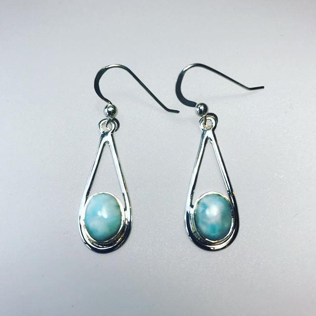 Larimar Earrings in sterling silver
