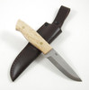 Showing example of a finished Trapper knife, with curly birch scales, brass corby bolts and leather sheath. Note this item is only the blade