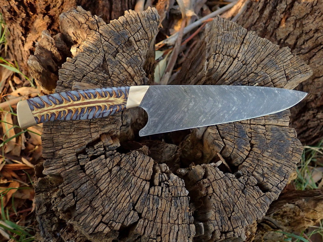 Mustard-etched blade and Stabilised Pine Cone - by Daniel Dashevsky