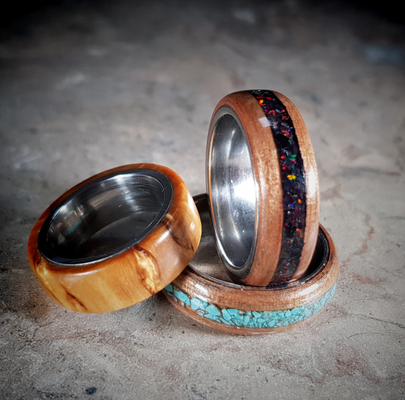 Hand Made Rings with Wood and Stone Inlays