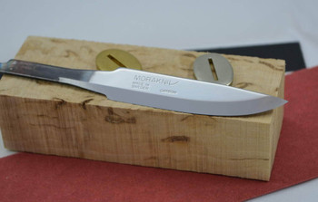 Mora 75 blade with Curly Birch ,Super grade block