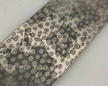 Stainless Steel BIRDSHOT Damascus Billet, 58 HRC, 250 x 35 x 3.2 mm