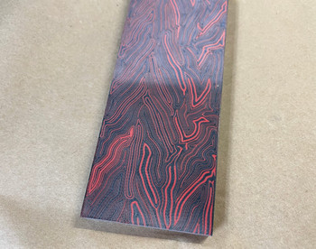 Damascus G10 Red, Handle Scales x 2, 8 mm