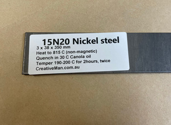 15N20 Nickel Steel for Damascus, 3 x 38 x 350 mm