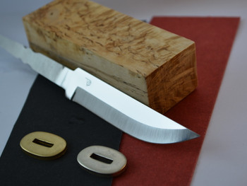 Polar 105 Stainless Steel blade, Curly Birch (Super grade) handle block, red or black fibre spacer (select one), matching bolster in brass or nickel silver (select one)