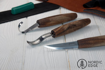 Spoon Carving Set With Gouge in Leather Folder, Limited Edition S14X