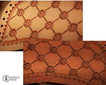 Shows a carved and stamped veg tanned leather piece before and after applying Fiebings Antique Stain in black. See video for process.
