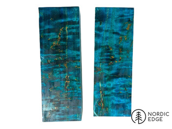 Stabilised Curly Birch Block, Light Blue