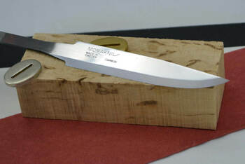 Mora 95 carbon steel blade shown in optional kit with handle block, spacer material and metal bolster