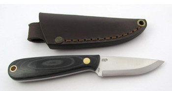 EnZo Necker Knife, Scandi Grind, Black Micarta