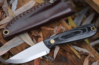 Brisa Necker Knife, Scandi Grind, Black Micarta