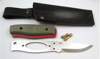 Brisa Elver Knife Kit, Scandi Grind, Green Micarta
