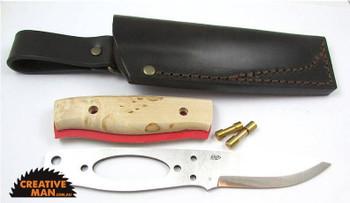 Brisa Elver Knife Kit, Scandi Grind, Curly Birch