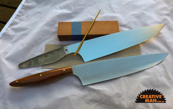 "Showing this Chef 220 blade in a kit and as a completed project, this one with Sydney Red Gum, white vulcanised spacers and brass 1/8"" pins."