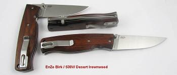 Brisa Birk 75 Folder, Flat Grind S30V, Desert Ironwood Handle Scales