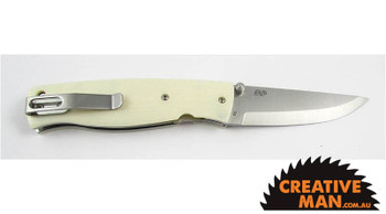 EnZo Birk 75 Folder, Scandi Grind D2, Ivory Linen Micarta Handle Scales