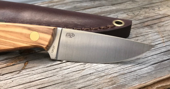EnZo Necker Knife, Flat Grind, Olive Wood,Leather Sheath
