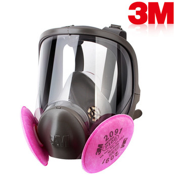 Showing filters fitted to a 3M 6900 respirator, a full-face dustmask suitable for knife making. This item is the pink filters ONLY, and not the respirator.
