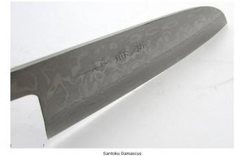 Damascus Santoku Chef Blade, Carbon Steel