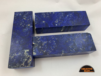 Dyed and Stabilised Maple Burl, NAVY colour