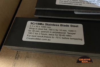 9Cr18Mo -(440c) - Stainless Blade Steel 3.3 x 50 x 1000 mm