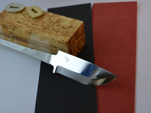 Polar 82 blade in Stainless Steel, Curly Birch (Super grade) handle block, matching bolster in brass or nickel silver (select one) and fibre spacer in either red or black (select one)